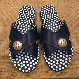 Tory Burch Slides ! Blue with Pearl Logo